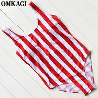OMKAGI Brand 2017 Sexy U Backless One Piece Swimsuit White And Red Stripes Swimwear Women Monokini