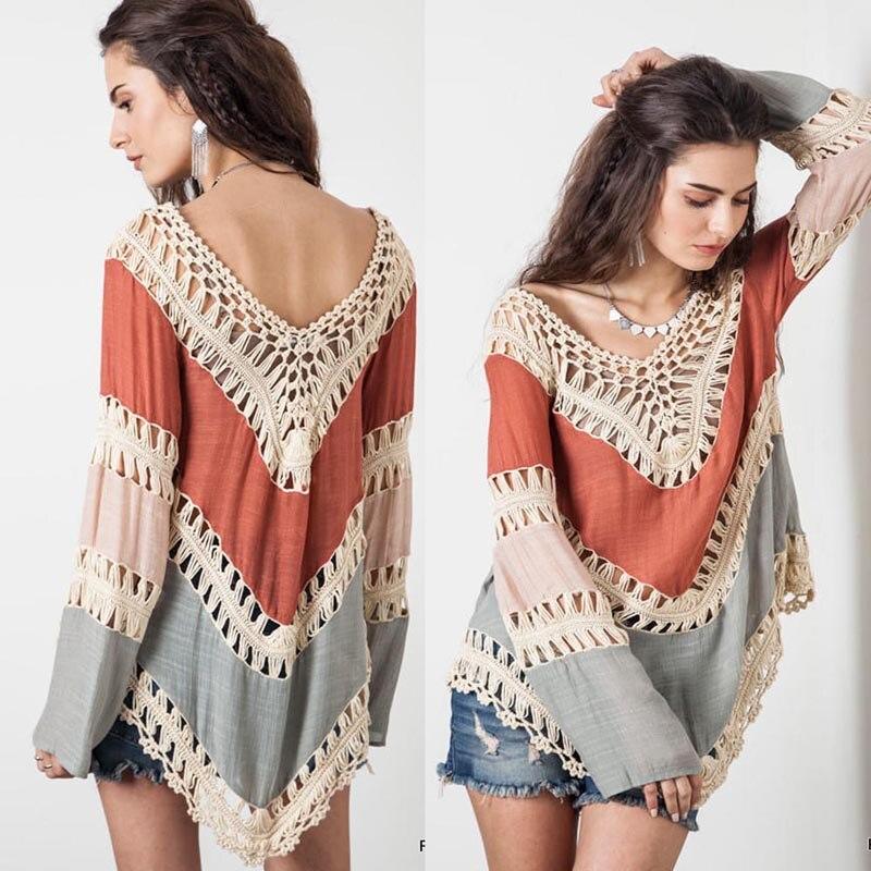 новый 2016 женщины выдалбливают бикини прикрыть блузка топы богемный стиль крючком кружева летний пляж сокрытие зигзаг пончо одежда рубашка