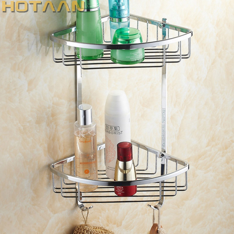 Free Shipping Wall Mounted chrome finish brass Bathroom Shower shampoo Shelf Basket Holder Fashion Double Layer YT-7010
