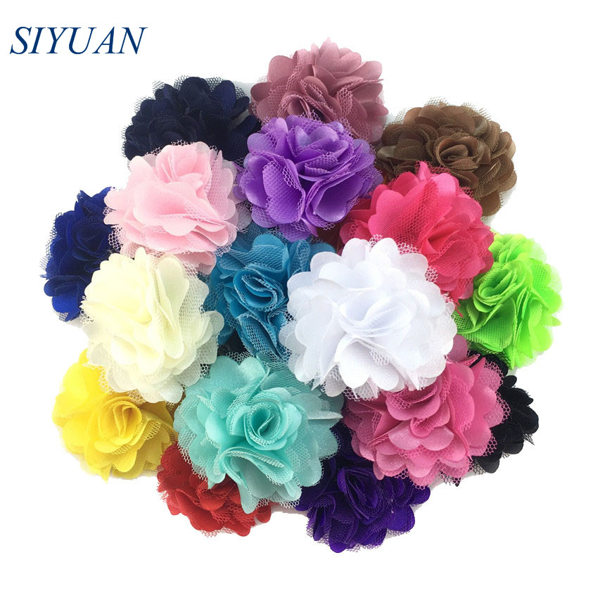 10pcs/lot 2 inch Silk Satin Mesh Flower with Hair Clip Headwear Accessories Solid Summer Color Wedding Decor TH54(China)