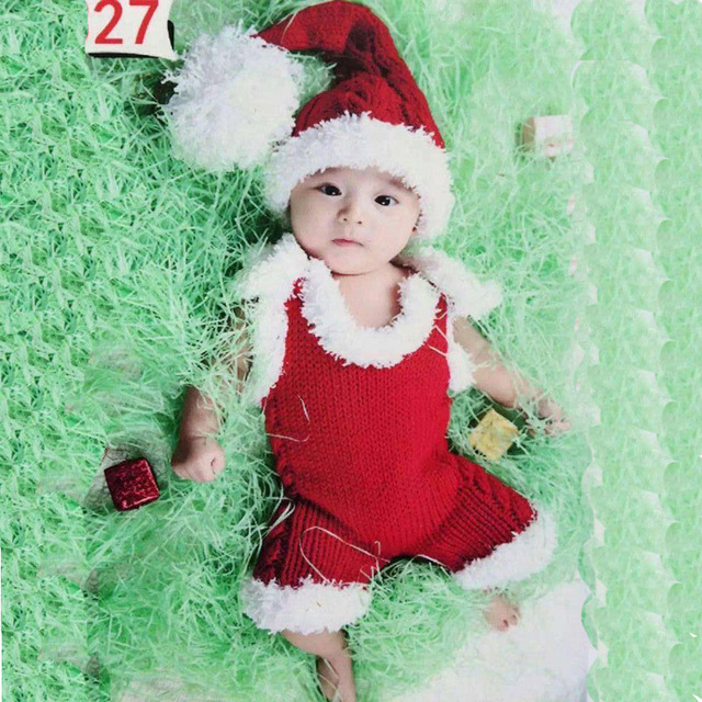 little baby girl boy christmas photography props newborn picture photo shoot crochet xmas hat outfits clothes