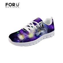 FORUDESIGNS 3D Lobo Galaxy Impressão das Mulheres Sapatos Flats Malha  Mocassins Plataforma Sneakers Mulheres Respirável Calçados 5ff850230c189