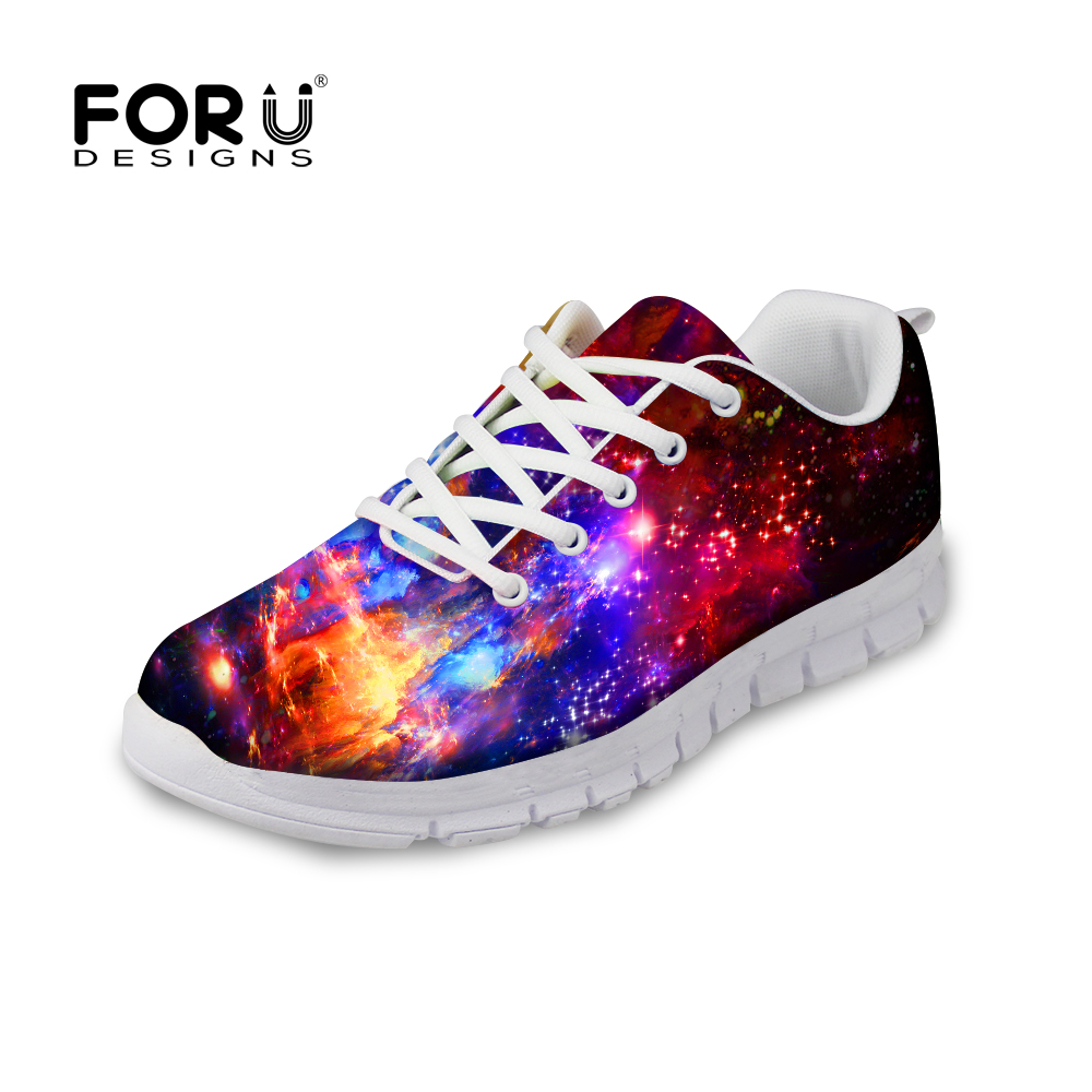 FORUDESIGNS Fashion Women Flat Shoes Stylish Starry Night Galaxy Shoes for Woman Casual Female Lace Up Flats Lady Zapatos Mujer forudesigns casual women flats shoes woman fashion graffiti design autumn lace up flat shoe for teenage girls zapatos mujer 2017