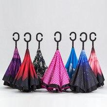C-Crochet Mains Voiture Parapluie Coupe-Vent Inverse Pliage Double Couche Parapluie Inversé Auto Stand L'intérieur Protection Contre La Pluie