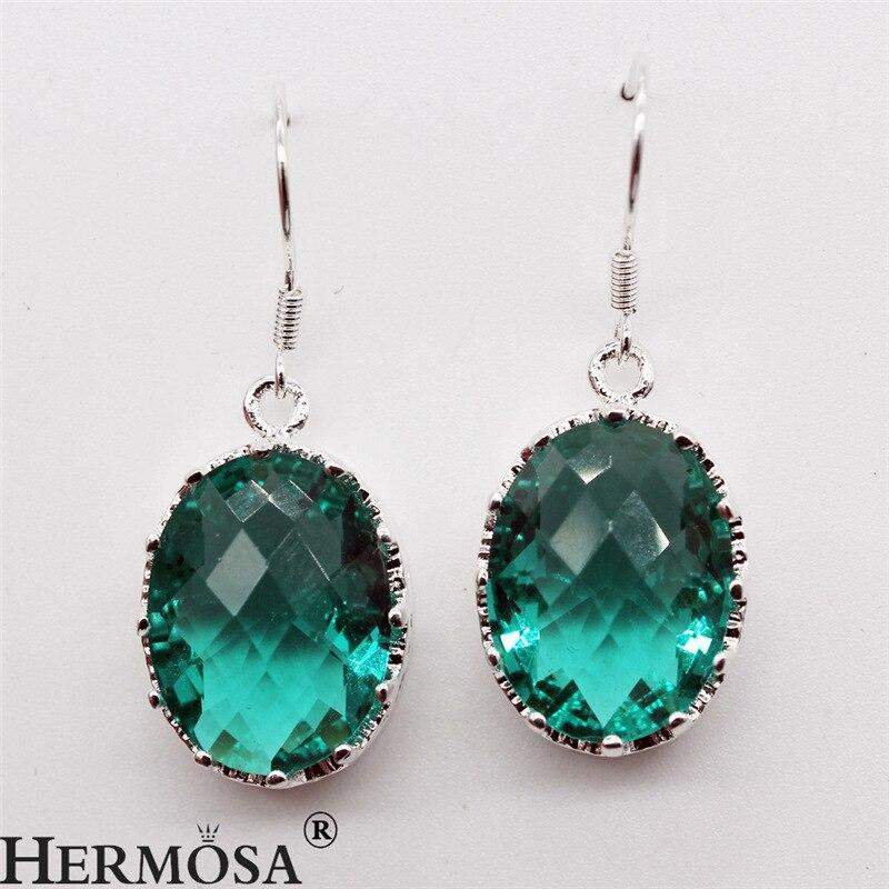 Faceted Solid Green Oval Jewelry Women Dangle Drop Earrings 925 Sterling Silver Earring Elegant Hot