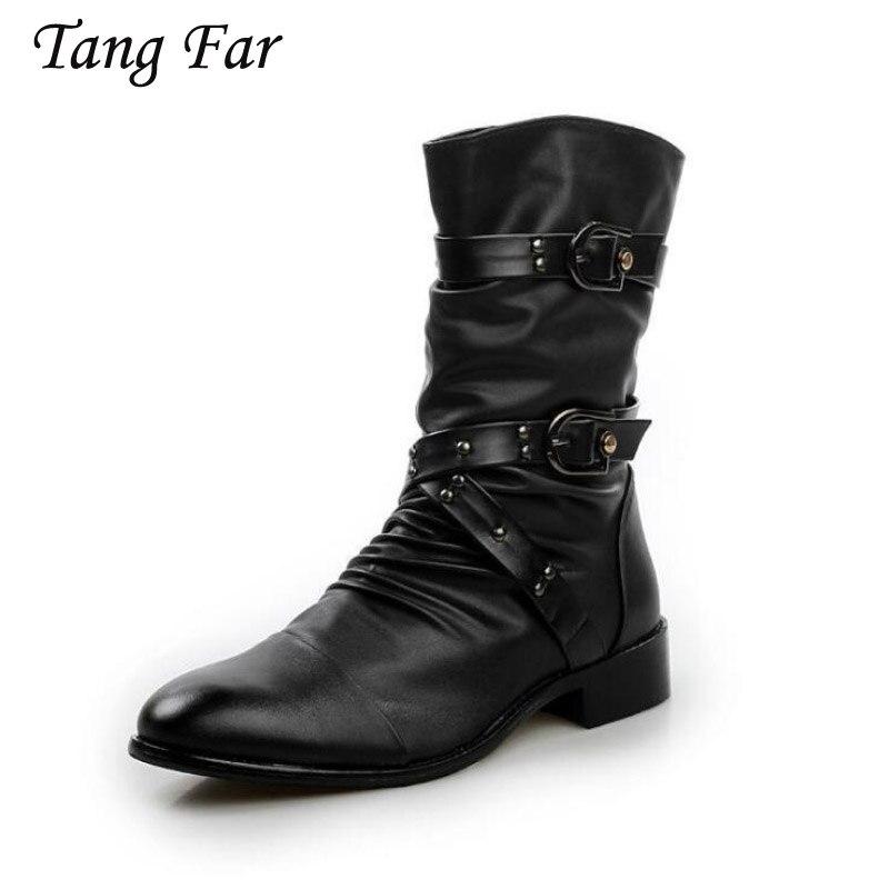 Hombres motos Touring negro Vintage diseño remaches Casual cuero desgaste montar media pantorrilla botas al aire libre botas