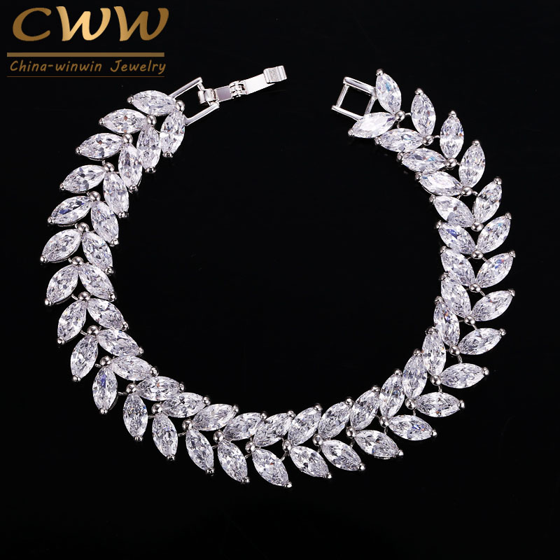 CWWZircons 2020 Luxury Jewelry AAA High Quality Cubic Zircon Leaf Shape Vintage Bride Wedding Bracelet Bangle for Women CB140