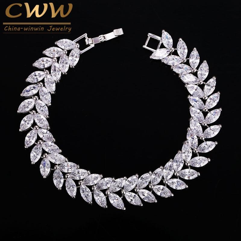 CWWZircons 2020 Luxury Jewelry AAA High Quality Cubic Zircon Leaf Shape Vintage Bride Wedding Bracelet Bangle for Women CB140