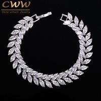 2015 Luxury Jewelry Unique Design AAA Swiss Cubic Zircon Leaf Shape Vintage Bride Wedding Bracelet Bangle