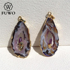 Image 2 - FUWO Natural Geode Slice Pendant 24K Gold Electroplated Raw Crystal With Fixed Purple Quartz Charm Jewelry Wholesale PD083