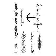 2 Pcs Waterproof Fake Tattoo Black Words Anchor Leaf Design Women Finger Cute Flash Tattoo Temporary Tattoos Sticker