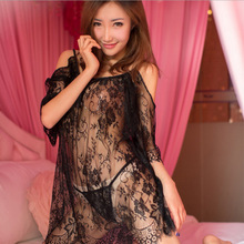 Erotic Lingerie for Women Sex Sexy off-the-shoulder eyelashes lace nightdress set perspective mesh sexy lingerie