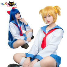 Eraspooky POP TEAM EPIC Cosplay Pipimi Blue Hair Popko Yellow Short Wig Anime Role Play Wigs Synthetic Halloween Costumes Hair(China)
