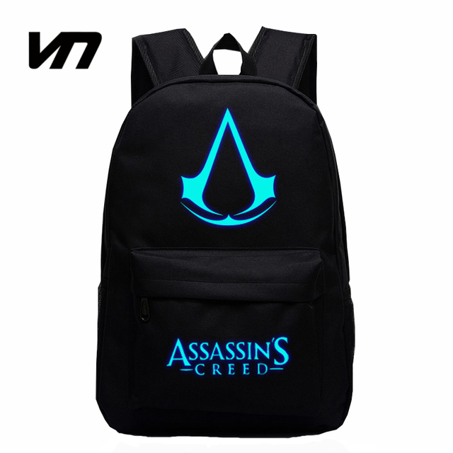 VN 2016 New Design Assassins Creed Backpacks Luminous 5 Colors Backpack Canvas Printing School Bags For Teenagers Game Fans Gift