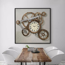 HEYI Wall Art Painting Vintage Gear Clock Canvas Prints