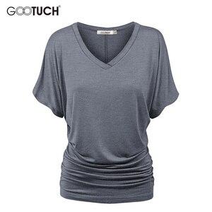 Женская Повседневная Свободная футболка с рукавами «летучая мышь», летняя футболка с короткими рукавами и v-образным вырезом, сексуальные ф...