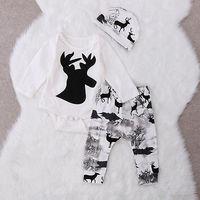 Newborn Baby Girl Boy Deer Printing Romper Tops Long Pants Leggings Casual Hat Cute Baby Outfits