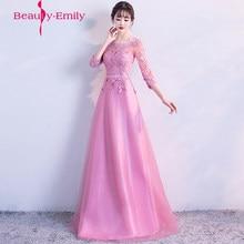 604a636bd Estilo de hadas vestidos de fiesta Rosa una línea vestido de noche largo elegante  vestido de festa rebordear baile vestido