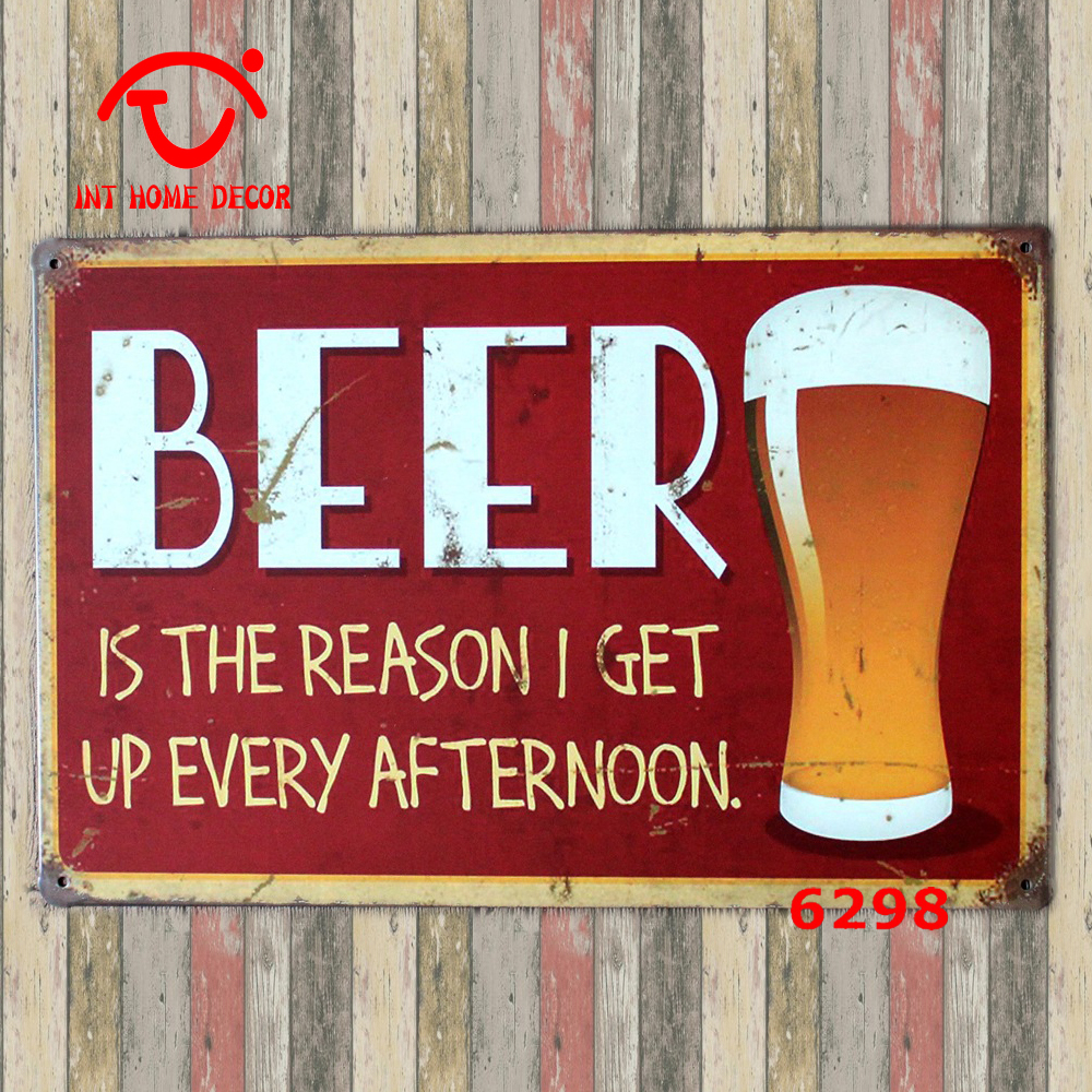 Bar Plaque Beer Drink Home Decor Wall Sticker Iron Retro Tin Metal Signs Plaques Cold Here 20x30cm On Aliexpress Alibaba Group