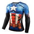 Marvel Superhero 3D Soldado de Invierno Camisa de Compresión de Los Hombres MMA Crossfit Gimnasio de Manga Larga Camisetas Hombre Cosplay Ropa Tops