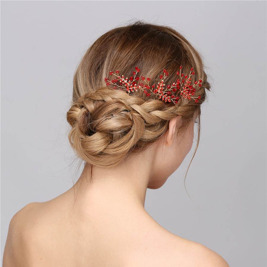 Hair accessories for wedding online india - Wedding Hair Accessories Online Bridal Wedding Hair Accessories For Women Hair Pins Red Crystal Beads