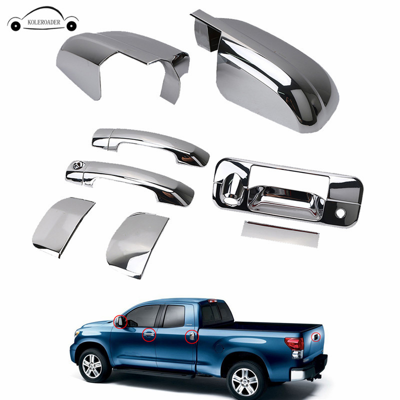 KOLEROADER Car For Toyota Door Side Rearview Mirror Cover + Chrome Door Handle And Tailgate Cover Tundra Double Cab 2007-2013 // side mirror cover for suzuki jimny driving mirror cover back mirror cover with turn light and door light