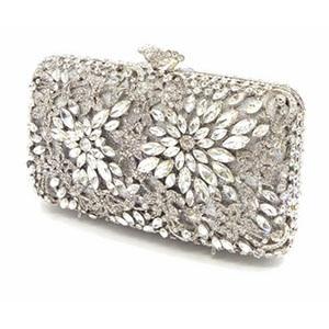 Flower Designer Luxury Crystal Evening Clutch Bag Women Party Prom Purse Ladies Wedding Bag Female Bag