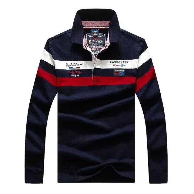 Высокое качество мода новый 100 хлопок Длинные рукава ПОЛО Акула мужчины рубашка camisas де marca Повседневная Slim Fit camisa размер тянуть бренд