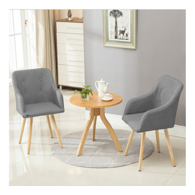 Fabric Dining Chair 2pcs/lot Grey Armchair Metal Legs Dining Room Furniture Dropshipping
