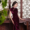 Chinese Style Long Evening Dress Silk Velvet Cheongsam Short Sleeve Women Dress Vestidos Chinese Dress Chi