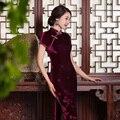 Veludo de Seda Cheongsam chinês Tradicional Vestido Abiye Mulheres Vestidos Longos Vestidos de Manga Curta Qipao Vestido de Casamento Vestido de Noite