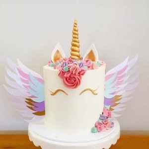 Image 1 - Unicorn Wings Wedding Cake Topper For Decor Mariage Valentines Day Decoration Wing Cake Topper Party Supplies Baking Accessoires