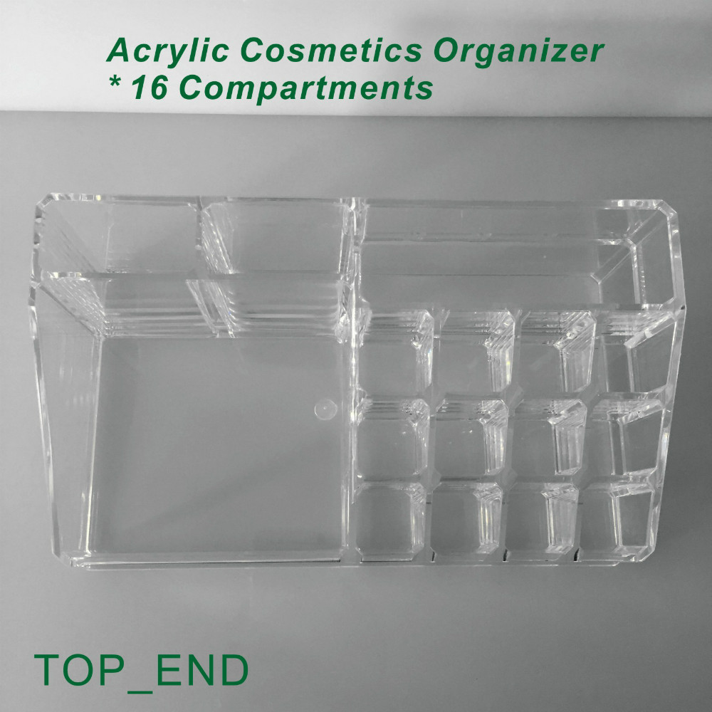 ... Free Shipping,Crystal Clear,Acrylic Cosmetics/Make Up Organizer,16  Compartments