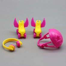 New 4PCS/Set Decorative Roller Skate Fancy Doll Shoes headset helmet For Barbie Kids Girls Toy Roller Play(China)