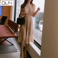 Korea 2019 new comfortable and elegant very fairy with ruffled retro wave point bottom chiffon dress