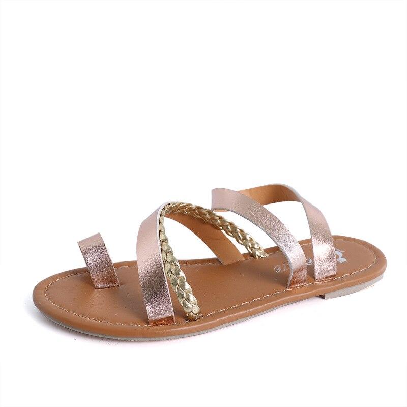 Zapatos Mujeres Las De Roma Sandalias En Oro Gladiador Planas A54jLq3R