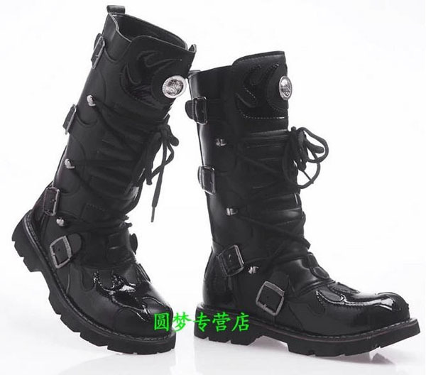 Fashion Winter Designer Cowboy Boots Mens Black Leather