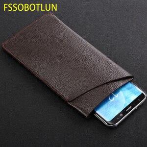 Image 1 - Fssobotlun, iphone 11 pro max litchi 가죽 케이스 슬리브 카드 파우치 백 iphone xr xs max 홀스터 핸드 메이드 보호 케이스