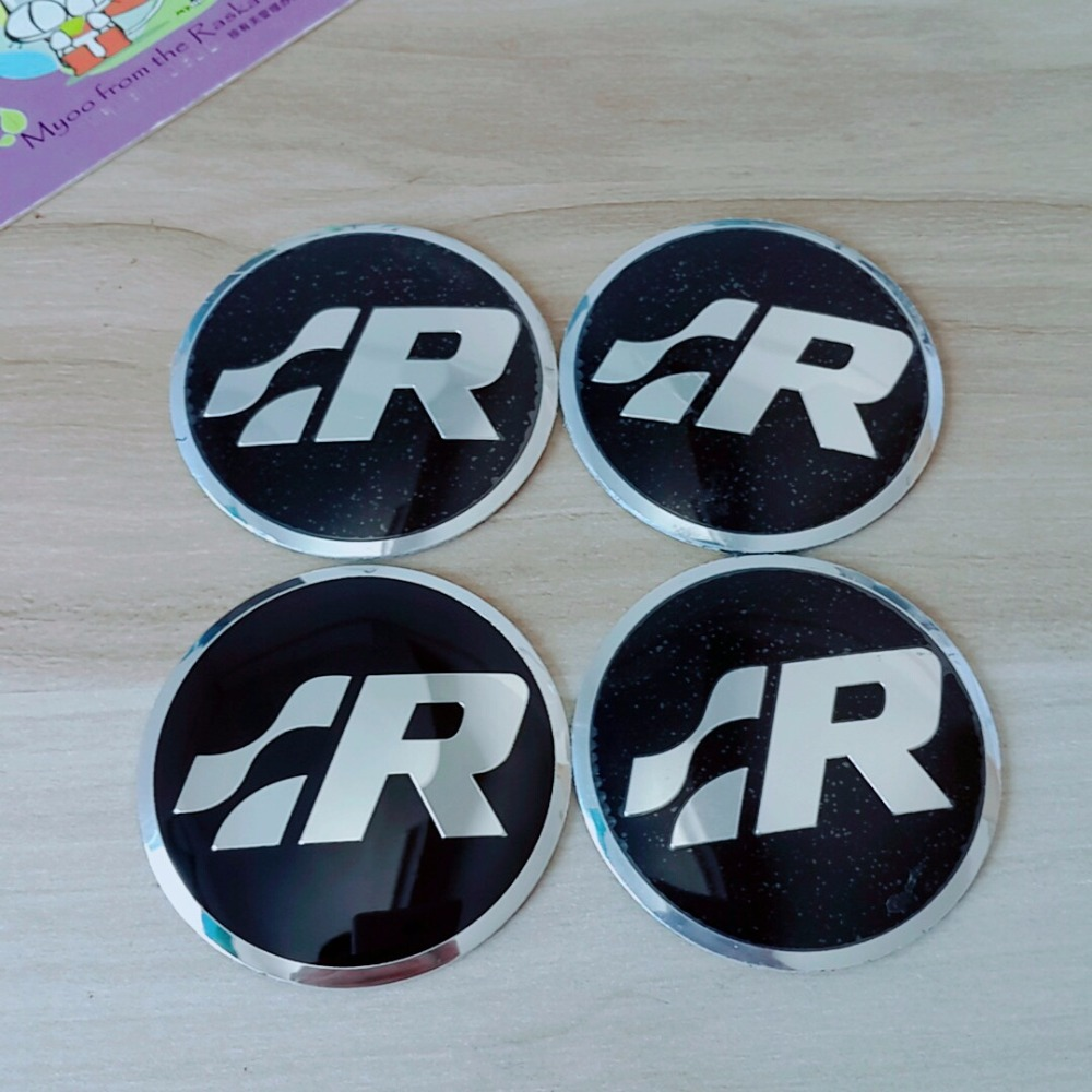 4pcs 56mm R SR Logo Car Steering Wheel Badge Center Hub Sticker For VW Volkswagen Golf Jetta Polo Hub Cap Emblem Car styling waterproof rubber hk right hand steering wheel car floor mats for volkswagengolf 5 6 scirocco with gti tsi r r golf logo