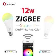 GLEDOPTO Dual white and color 12W LED ZIGBEE bulb RGB light AC100-240V ZigBee smart light work with amazon ecoh plus LED E27/E26