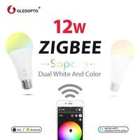 GLEDOPTO Dual white and color 12W LED ZIGBEE bulb RGB light AC100 240V ZigBee smart light work with amazon ecoh plus LED E27/E26