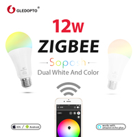 GLEDOPTO Dual white and color 12W LED ZIGBEE bulb RGB light AC100 240V ZigBee smart light work with amazon ecoh plus LED E27/E26