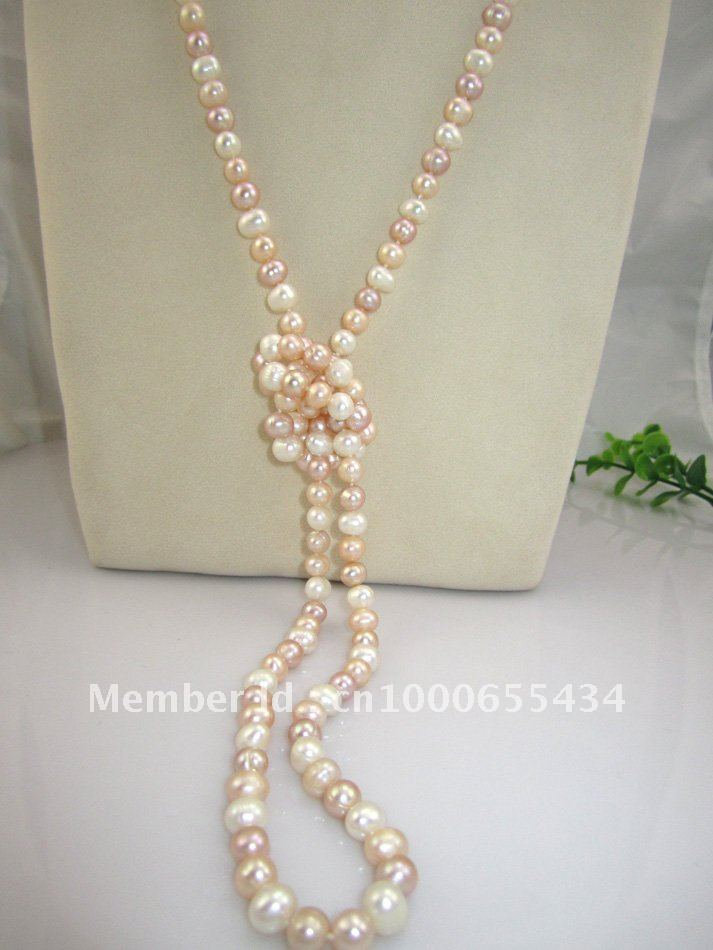 free shipping long real pearl necklace fresh water pearl sweater multi color pearl jewelry fashion jewelry 7-8MM 120CM