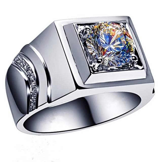 Popular Jewelry Men Ring Solid White Gold Jewelry 2CT Moissanite