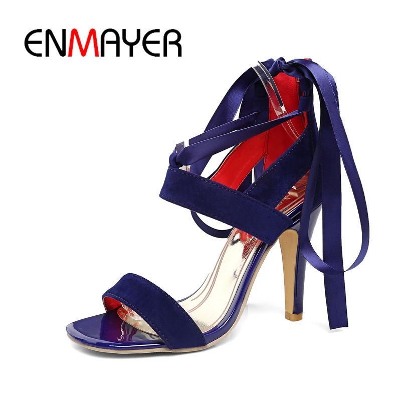 ENMAYER New style women's purple satin ribbon lace up ankle boots lady high heel open toe high heeled gladiator sandals ZYL204
