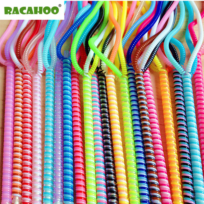 RACAHOO 5pcs 50cm Double Colors Data Cable Protective Sleeve Spring Twine For Iphone USB Charging earphone Case Cover Winder