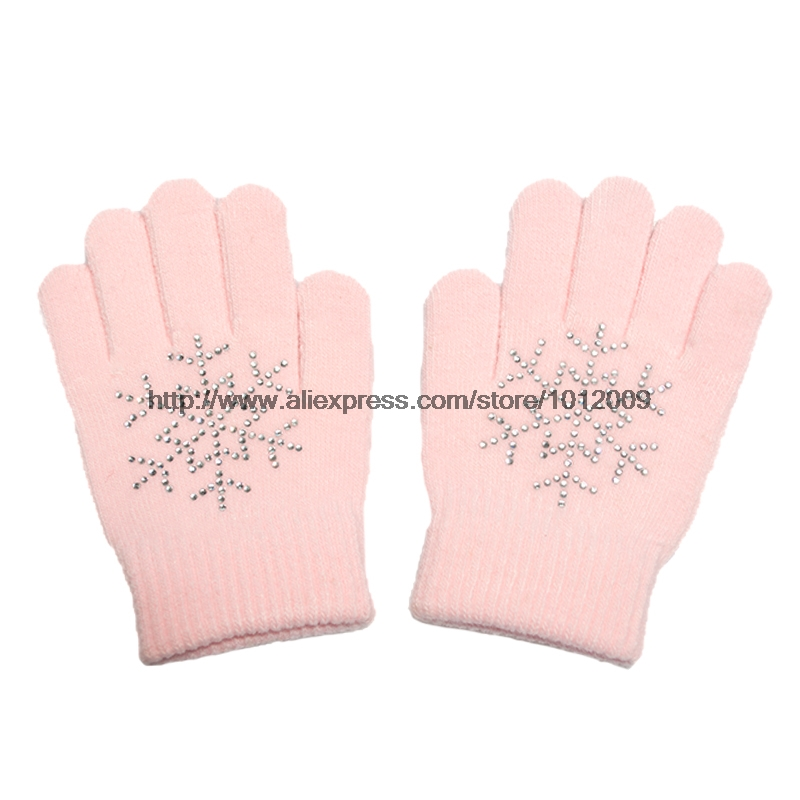 10 Colors Magic Wrist Gloves Figure Skating Ice Training Gloves Exquisite Warm Fleece Thermal Child Adult Snow Rhinestone 6