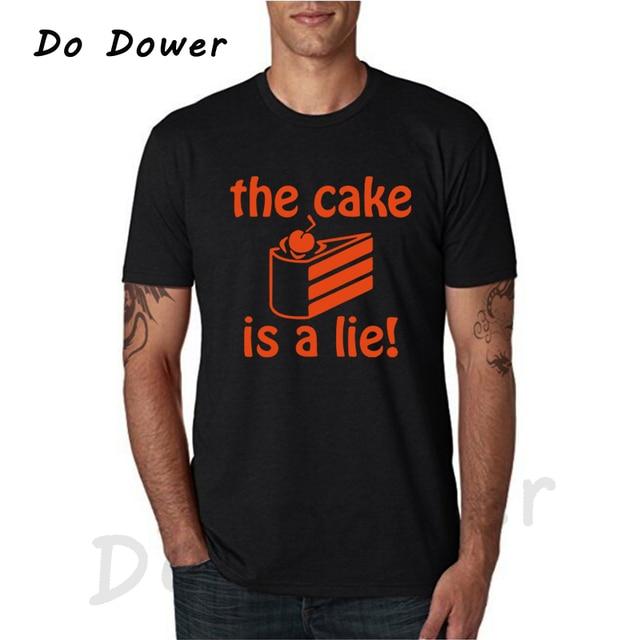9d21dc1ec5f 2018 Fashion Portal 2 T Shirt Men The Cake is A Lie Tee Shirt Men Game  Short Sleeve T-Shirt cotton Tops  0165