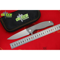GREEN THORN F95 FLAT D2 Blade Titanium Handle Flipper Folding Knife Outdoor Camping Hunting Pocke Knives