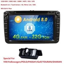 2DIN android 8,0 OctaCore 4 г + 32 г автомобильный dvd-audio мультимедиа для Volkswagen VW Golf ЖУК passat CC EOS jetta Поло Skoda/Seat/Леон